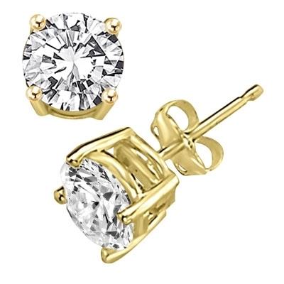 1 5 Carat Faux Diamond Stud Earrings 14k Solid Gold Stud