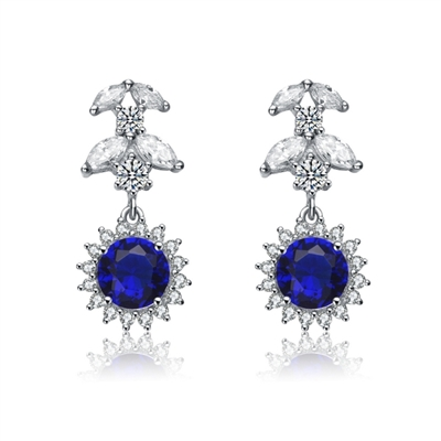 Diamond Essence Designer Drop Earrings With 1 25 Ct Shire Round Brilliant Marquise Cut Stoneelee 5cts T W In Platinum Plated Sterling