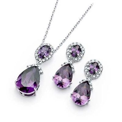 Diamond Essence Amethyst Earring And Pendant Set 12 5 Cts T W Setsp00300