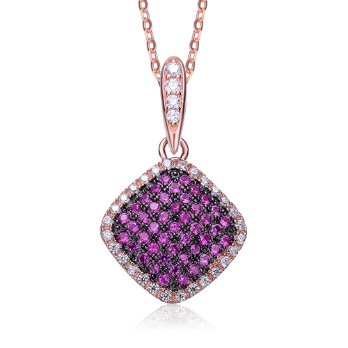 Diamond essence designer pendant with ruby essence melee in pave diamond essence designer pendant with ruby essence melee in pave setting outlined with diamond essence melee075 ctstw in rose plated sterling silver aloadofball Choice Image