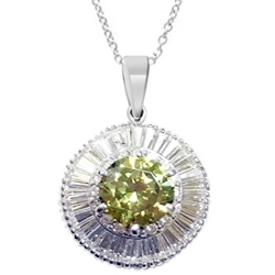 Diamond essence designer pendant with 250 cts round peridot center diamond essence designer pendant with 250 cts round peridot center in six prongs high setting surrounded by round brilliant melee and baguettes aloadofball Image collections