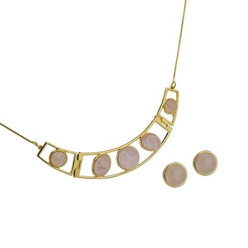 Diamond Essence Rose Quartz Earring Choker Necklace In Vermeil Vset622rq