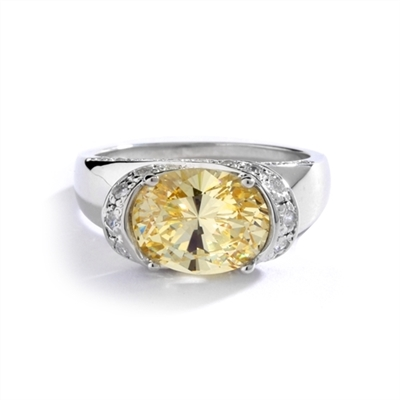 East West Ring Oval Cut Canary Essence Set In Center With