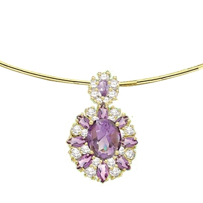 Wedding Jewelry Marquise Cut Purple Amethyst White Gold Plated Pendant Necklace