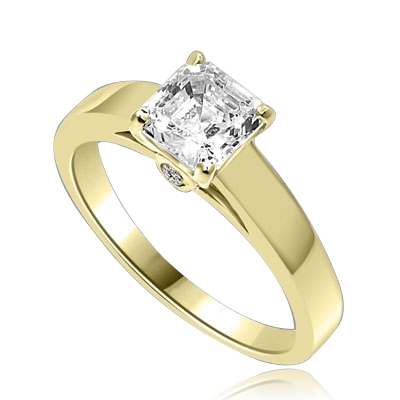 61926-2A 2.88 cttw Asscher Cut Main Stone Halo Engagement Ring w Art Deco All or Half Eternity band-Bridal Set Ring