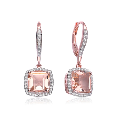 Diamond Essence Morganite Lever Back Earring 5 Cts T W Sec0020r