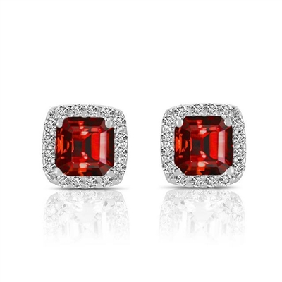 Ruby Earrings Rose Cut Sapphire Earrings Prong Set in Silver