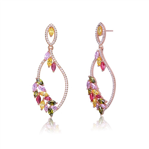 Diamond Essence Designer Earring With Multi Color Marquise