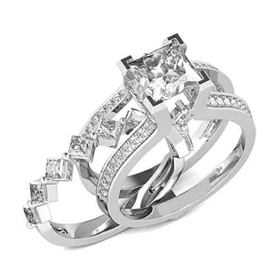 Diamond Essence Designer Wedding Set With Insertable Ring Of 0 10 Ct Each Princess Melee Main Band 2 Carat Cut Center And Round
