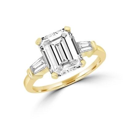 5842187ce7eff3 14K Gold Vermeil ring of 4.0 ct. emerald-cut Diamond Essence stone ...